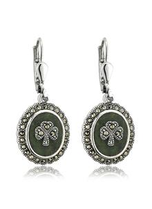 Sterling Siilver Marcasite Shamrock Earrings