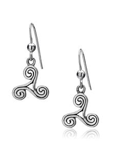 Sterling Silver Spiral Triskele Earrings