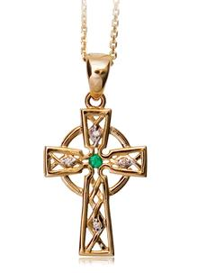 14 Carat Gold Celtic Cross with Emerald and Diamonds