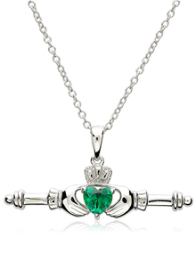 Sterling Silver Claddagh T-Bar Pendant