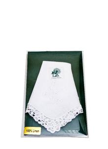 Ladies Irish Linen Hanky Shamrock White