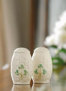 Belleek Shamrock Salt & Pepper
