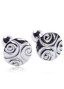Celtic Spiral Cufflinks Round