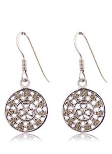 Sterling Silver Shamrock Drop Earrings