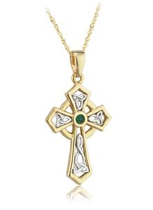 14 Carat Gold Emerald Cross Pendant
