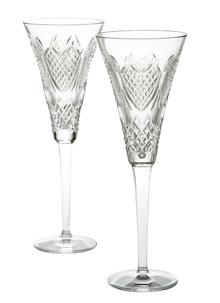 Waterford Crystal Wedding Heirloom Champagne Flute Pair