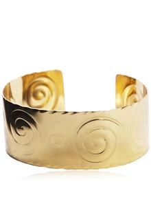 Wide Scroll Brass Bracelet