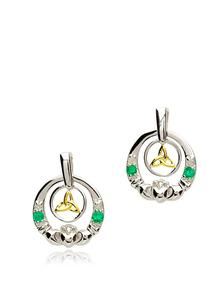 Sterling Silver Diamond Claddagh Earrings