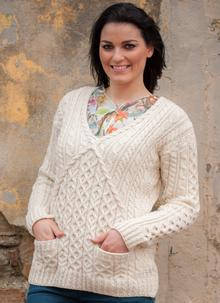 Ladies Aran V-Neck