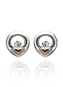 Iconic Claddagh Stud Earrings Silver & Rose Gold