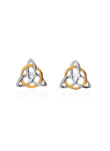 Sterling Silver And Gold Plated Celtic Trinity Knot Stud Earrings