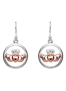 Silver Rose Gold Irish Claddagh Celtic Earrings
