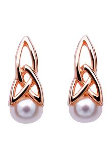 Celtic Trinity Rose Gold Silver Pearl Earrings
