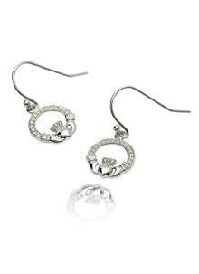 Silver Claddagh Stone Set Earrings