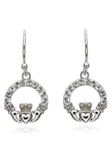 Claddagh Earrings Adorned With Swarovski Crystals