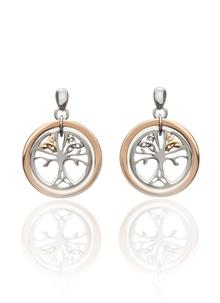 Trinity Tree Of Life Earrings in Silver & Rose Gold