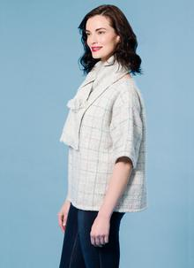 Woven Sweater With Matching Scarf Dove Check