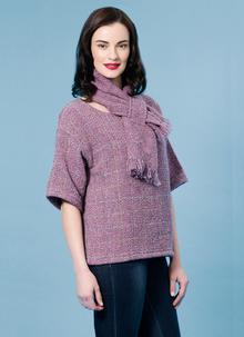 Woven Sweater With Matching Scarf Light Plum Check