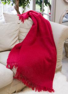 Winter Red Mohair Throw