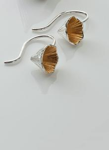 Shell Cone Silver and Rose Gold Short Drop Earrings