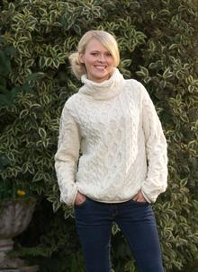 Aran Cowl-Neck Sweater