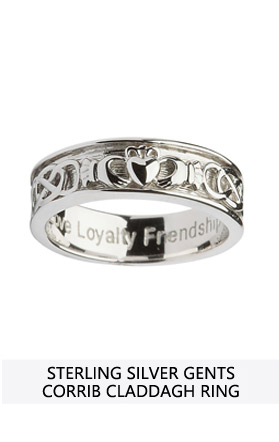 ring edge rings claddagh corrib wide karat wedding irish