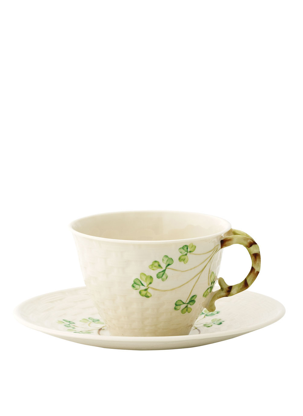 Belleek China Shamrock Tea Cup Amp Saucer Blarney