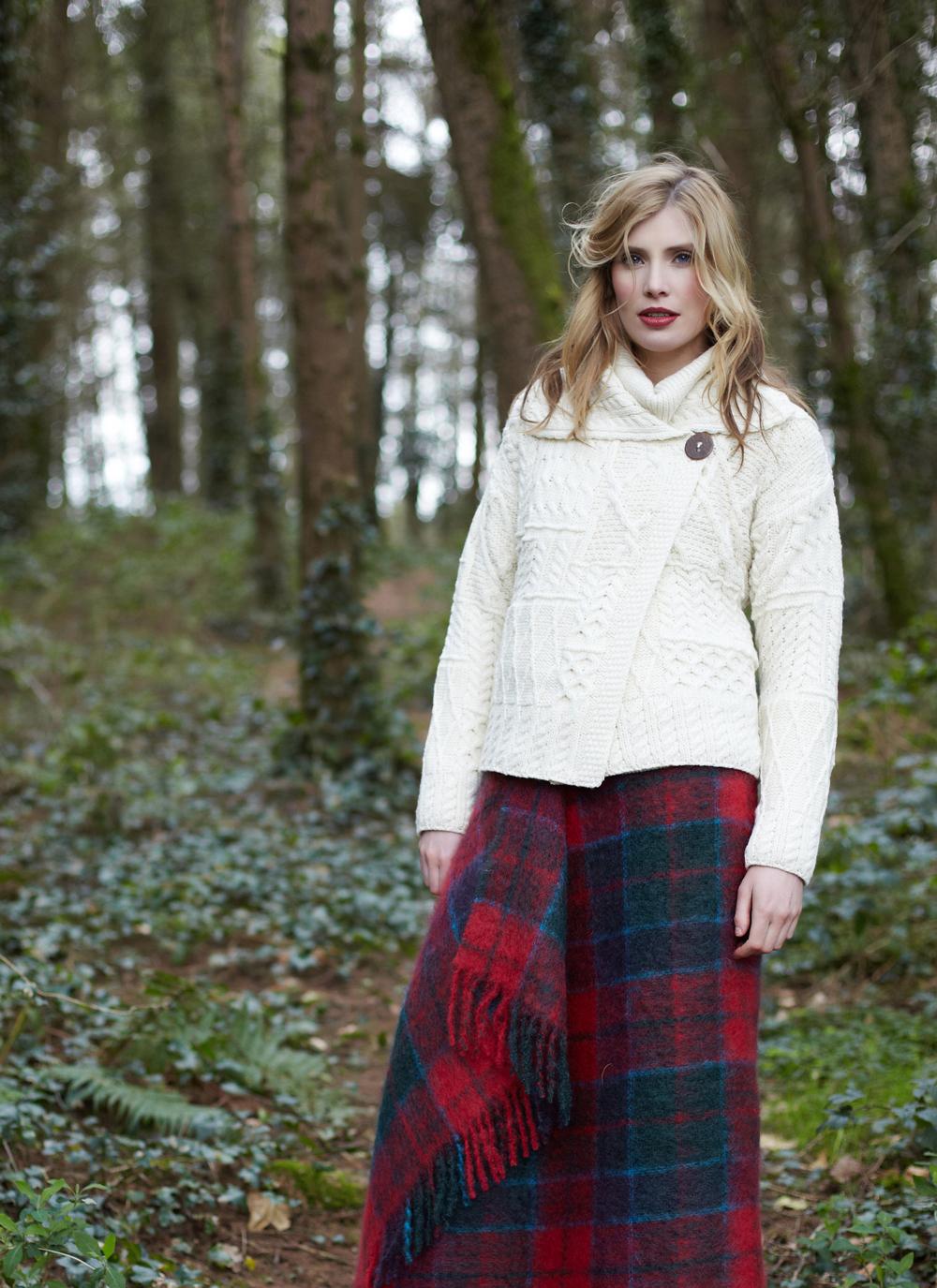 Muckross One-Button Aran Cardigan | Blarney Woollen Mills