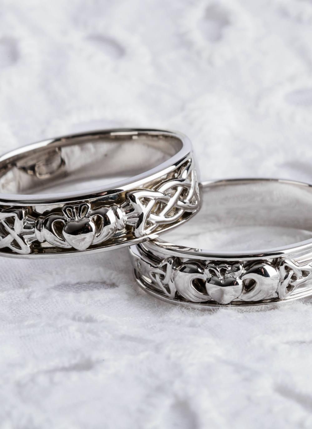 14k white gold claddagh wedding bands