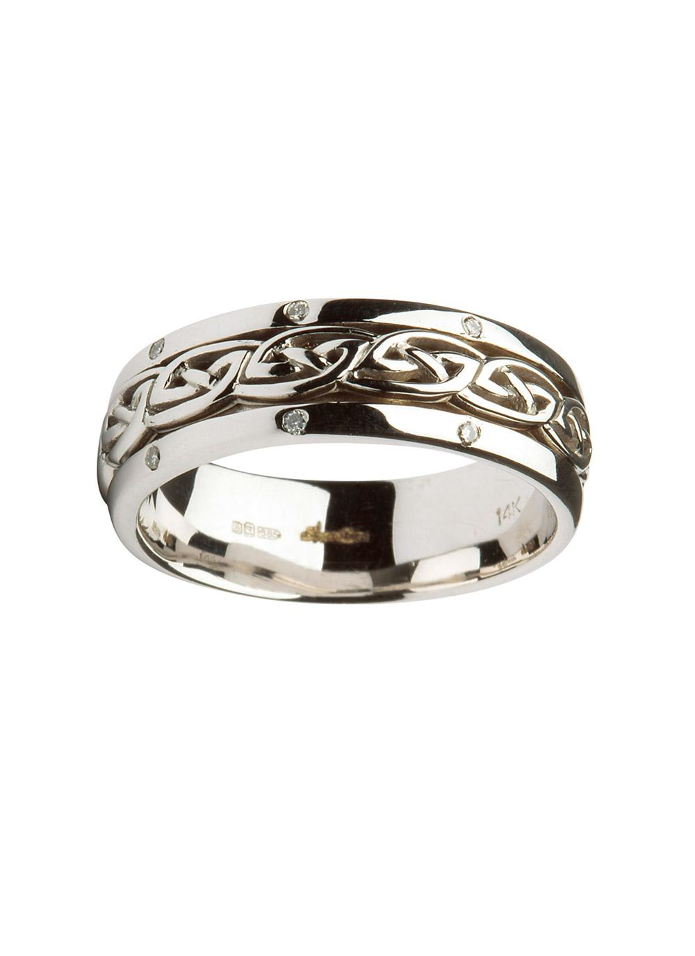 14k white gold celtic knot wedding ring blarney