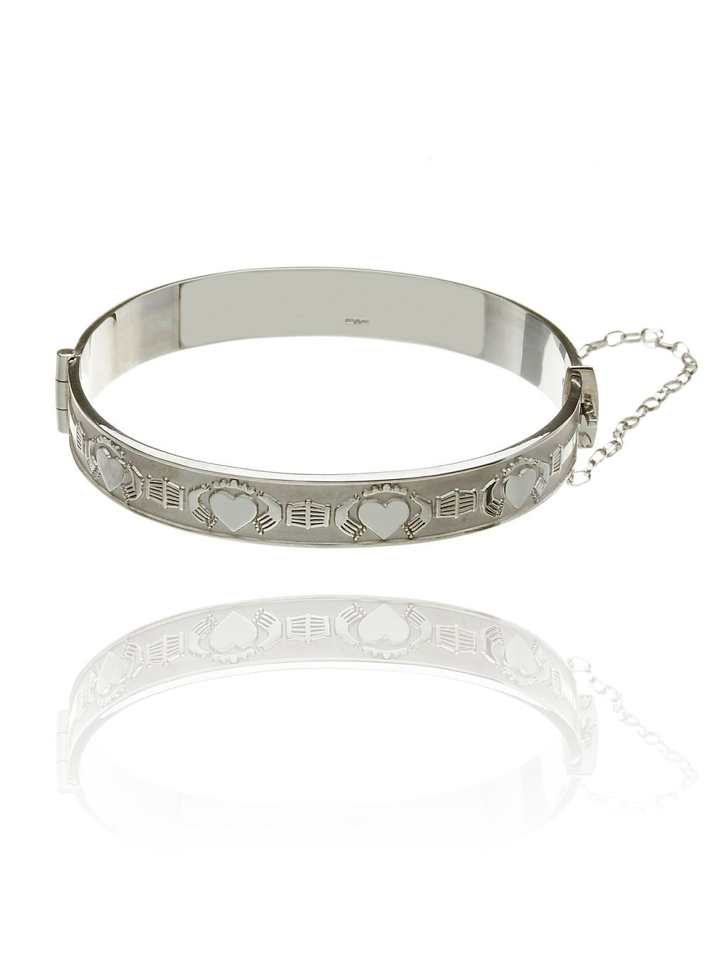 Sterling Silver Anam Cara Claddagh Bangle