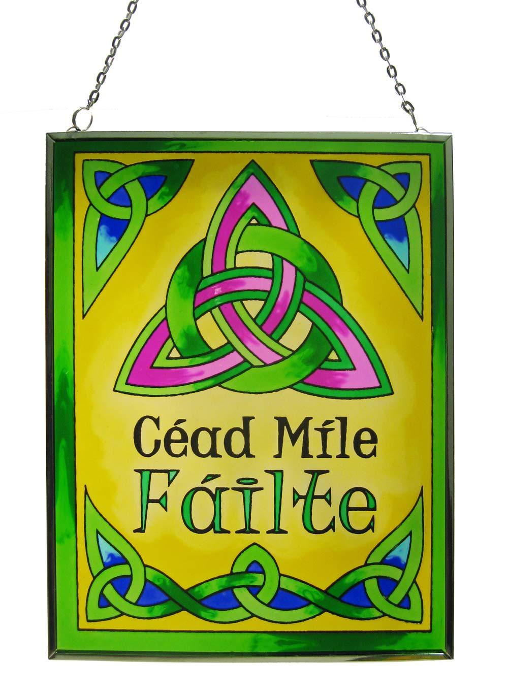 Céad Míle Féilte (trans. One Hundred Thousand Welcomes) Square Stained Glass Suncatcher