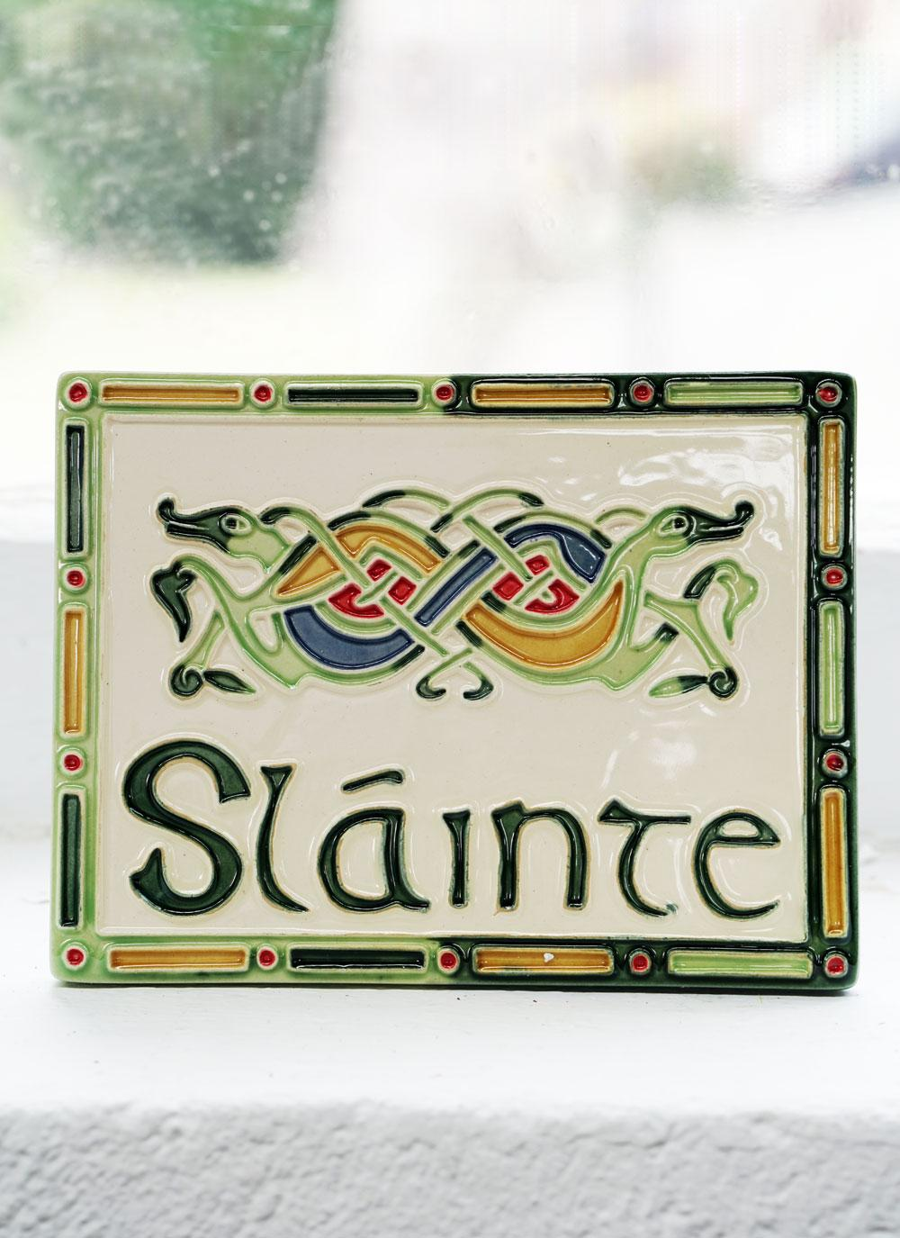 Sláinte (trans. Good Health) Ceramic Wall Plaque - Kells Range US