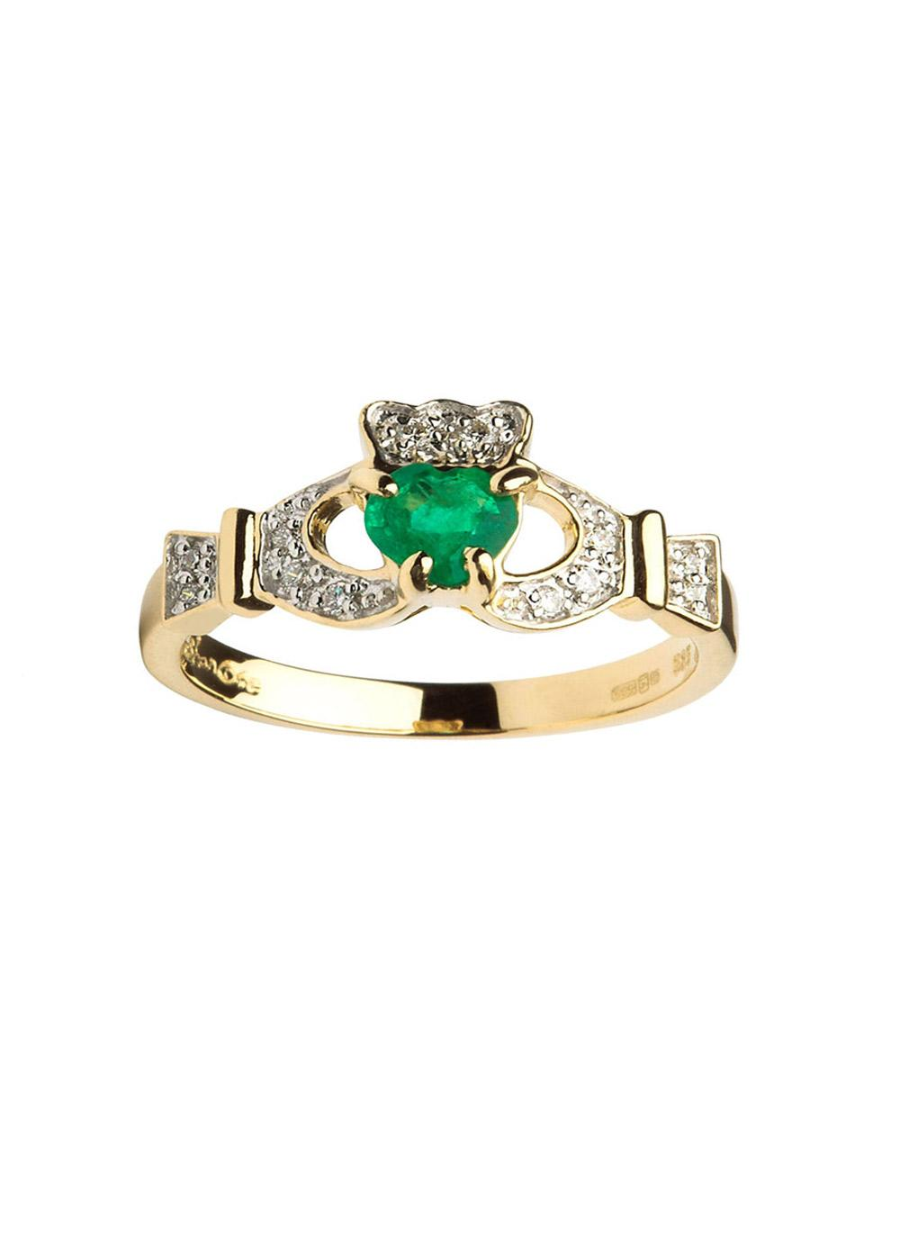 Ladies 14k Gold Claddagh Emerald And Diamond Set Ring