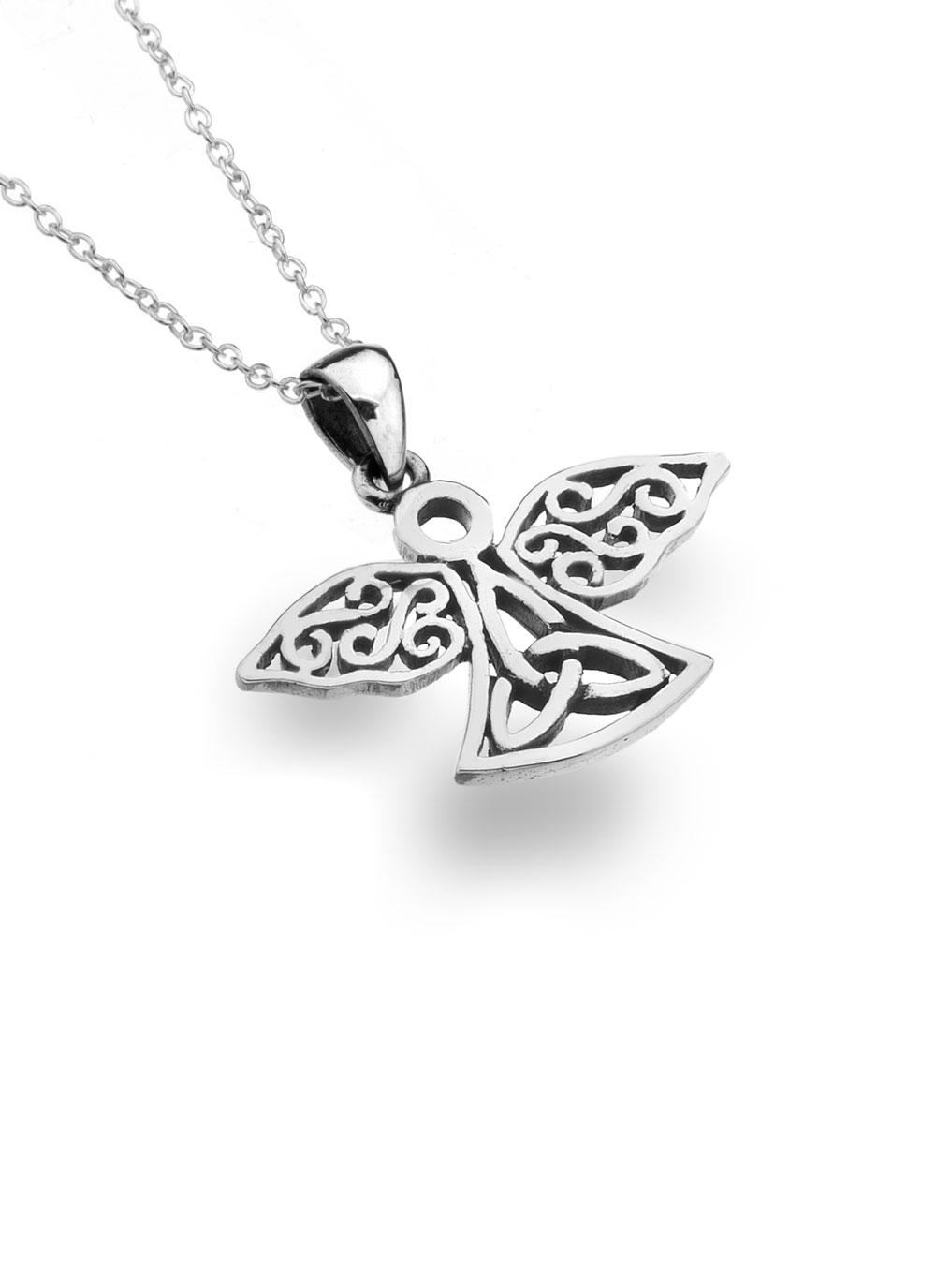 Sterling silver celtic angel pendant blarney sterling silver celtic angel pendant mozeypictures Image collections