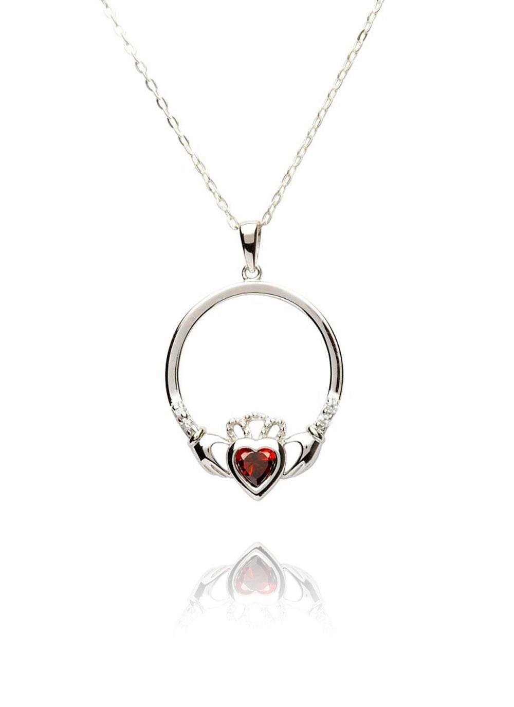 birthstone diamond topaz pendant silver necklace claddagh december