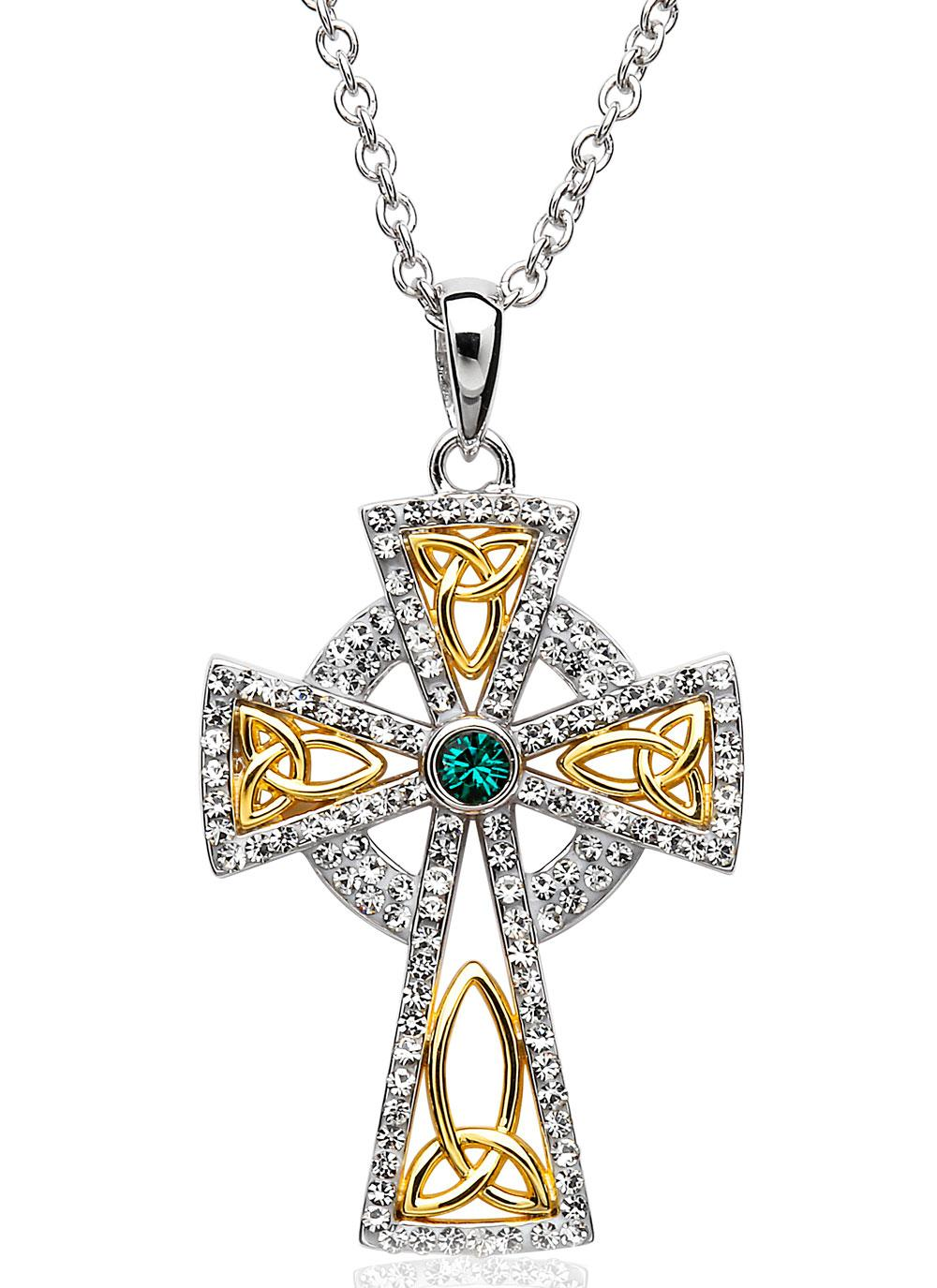 Celtic pendants celtic knot jewelry celtic cross necklace blarney celtic cross gold plated pendant embellished with swarovski crystals aloadofball Gallery