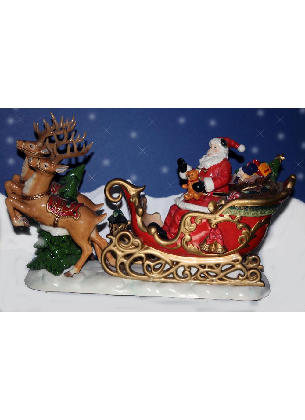 aynsley santa with reindeer figurine - Santa With Reindeer