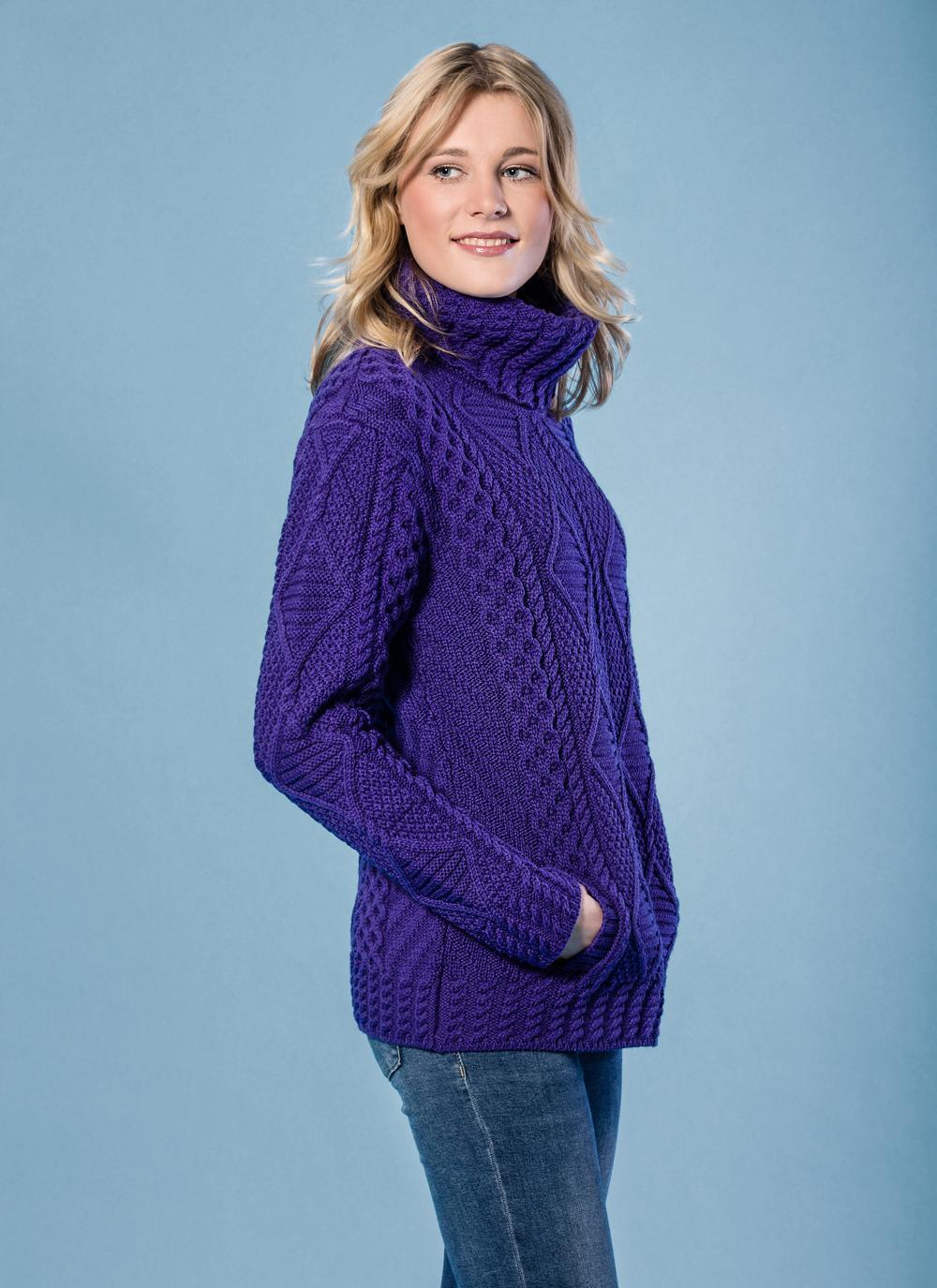 Una Cowl Neck Aran Sweater | Blarney