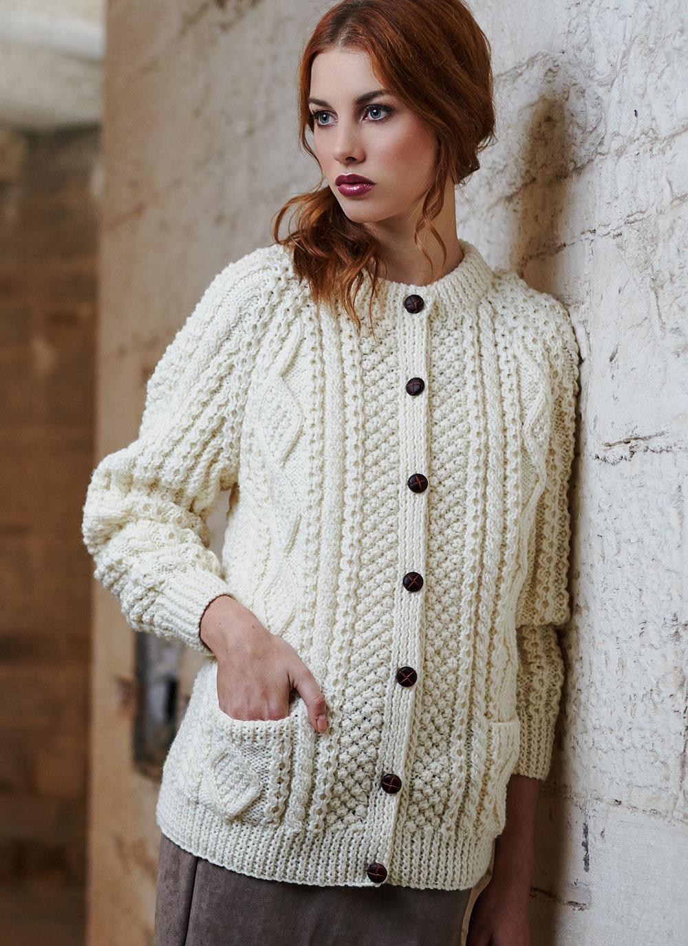 Hand Knitting Patterns For Ladies Cardigans : Ladies Hand Knit Aran Lumber Blarney