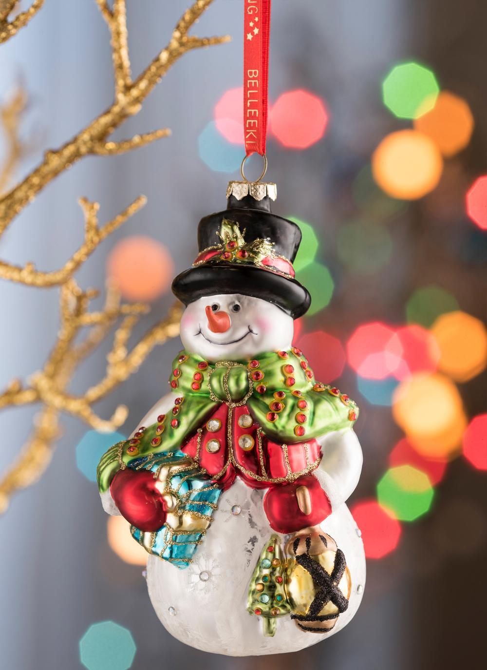 Belleek Snowman Ornament