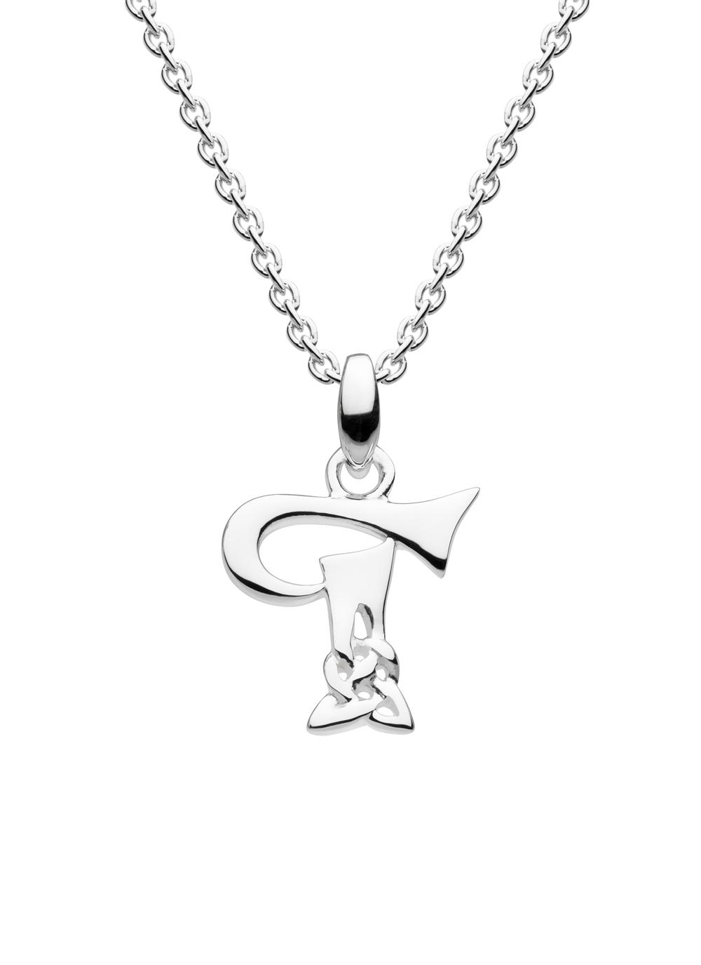 pendant initial gold white in necklace t letter diamond