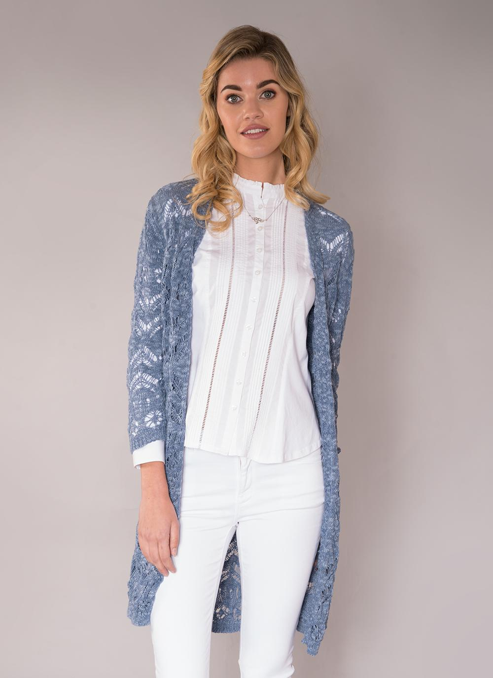 Ciara Cotton Linen Long Cardigan Denim Blue | Blarney