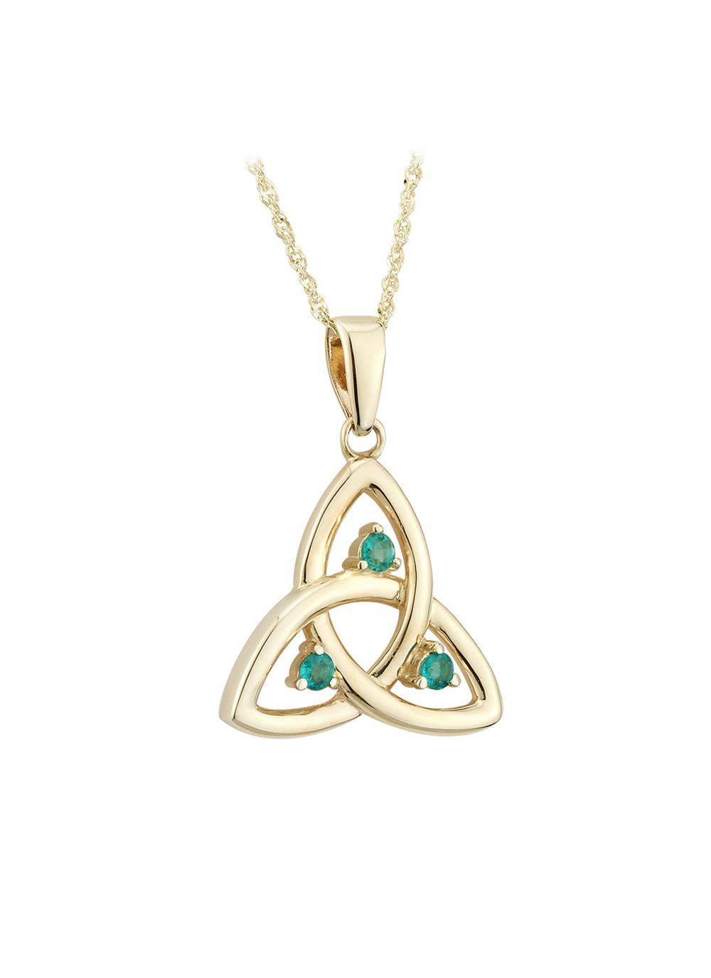 14k gold emerald trinity knot pendant blarney 14k gold emerald trinity knot pendant aloadofball Choice Image