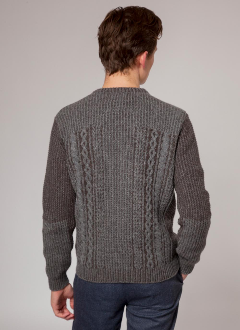 Gray Lambswool Irish Crewneck Sweater
