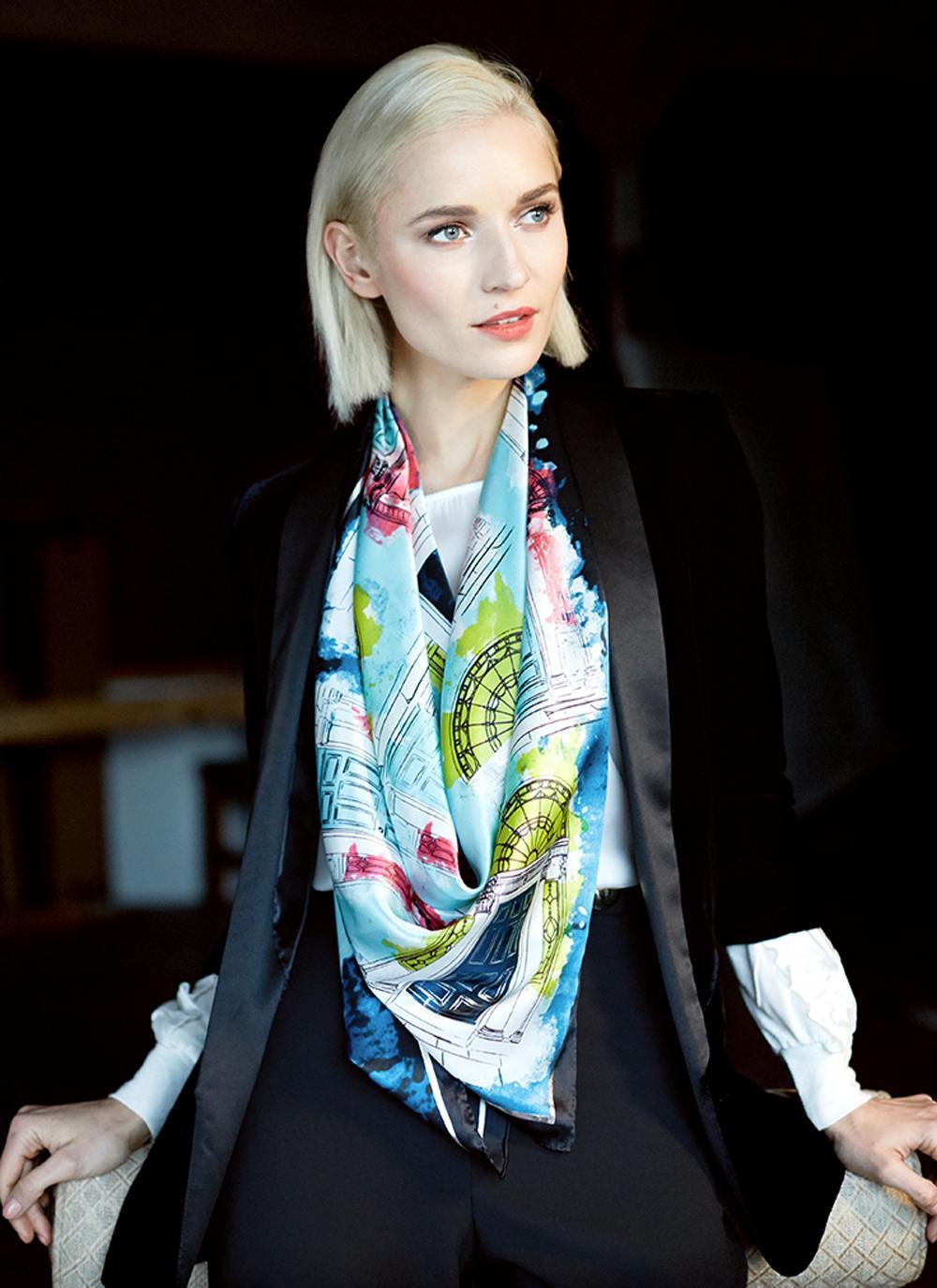 Headscarf Glass Marble Elegant Neck Scarves for Women Girls