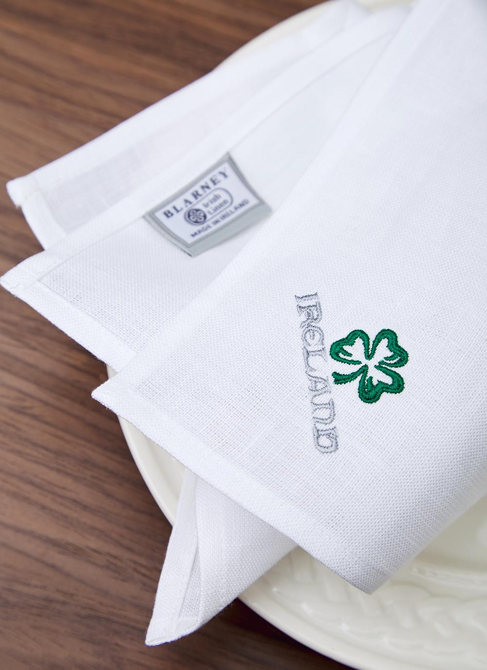 Blarney Irish Linen Embroidered Napkins 18 X 18 Blarney