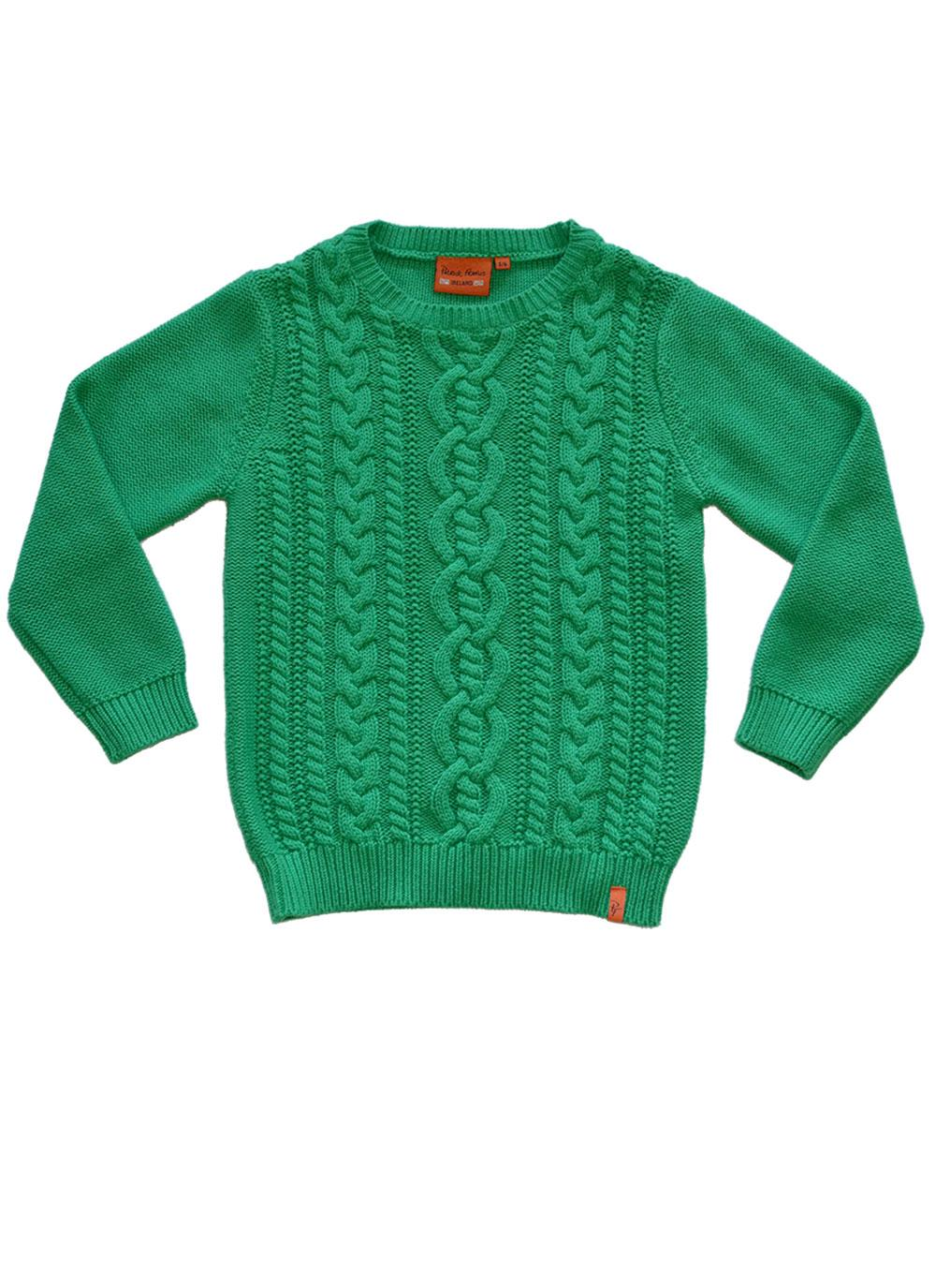Kid's Cotton Cable Knit Sweater Green | Blarney
