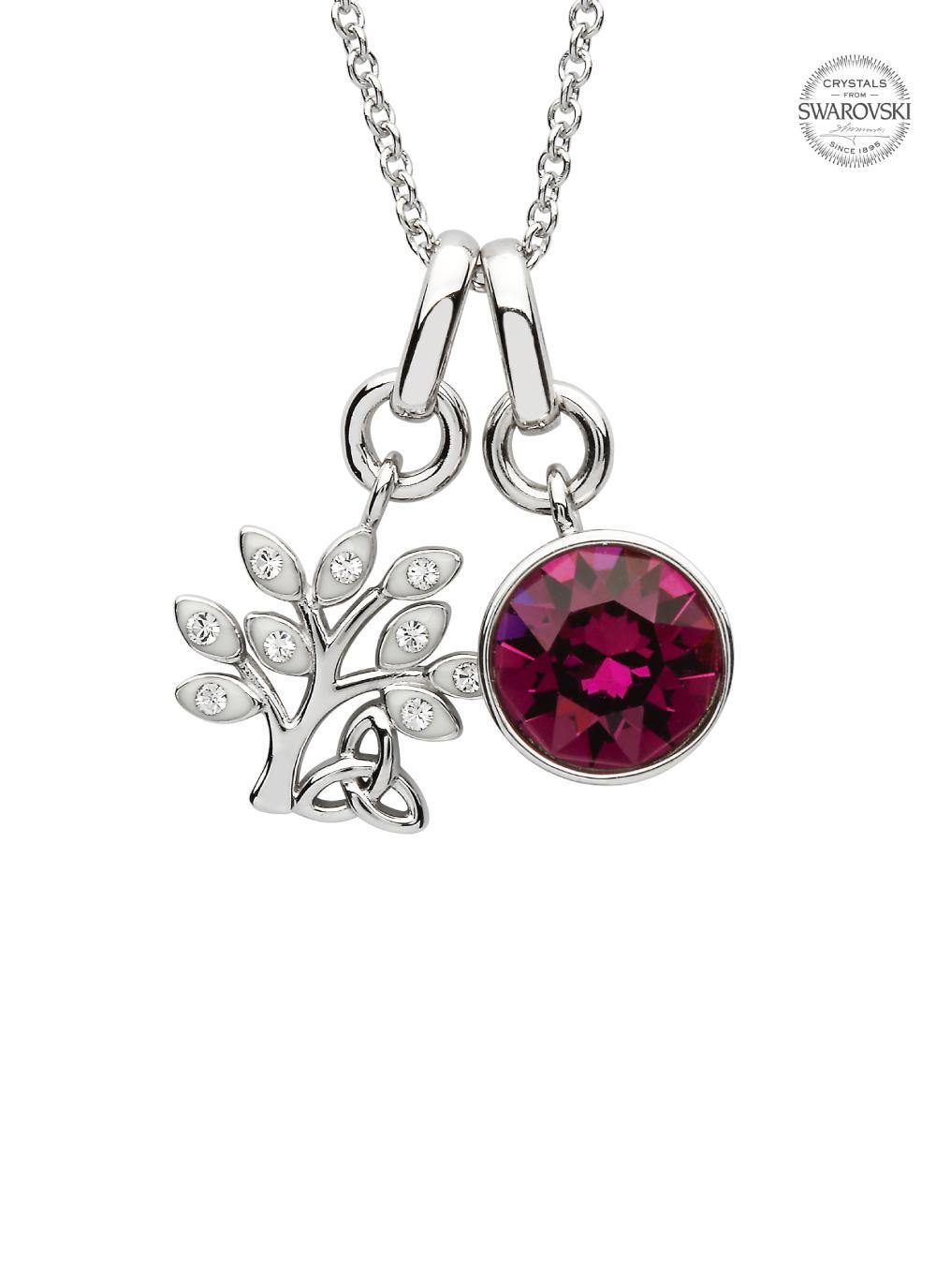 Tree Of Life Birthstone Charm Pendant Adorned With Swarovski Crystals