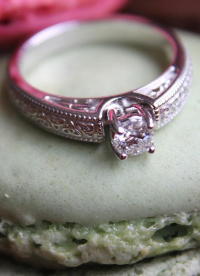 Ladies 14k White Gold Diamond Trinity Knot Engagement Ring
